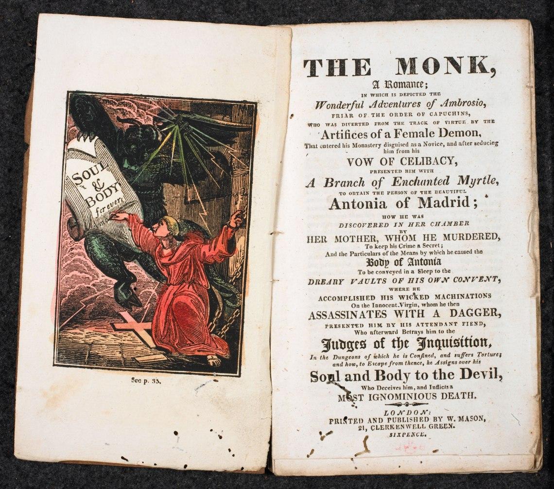 Matthew Lewis's novel The Monk (1796) is a centerpiece of Gothic literature.