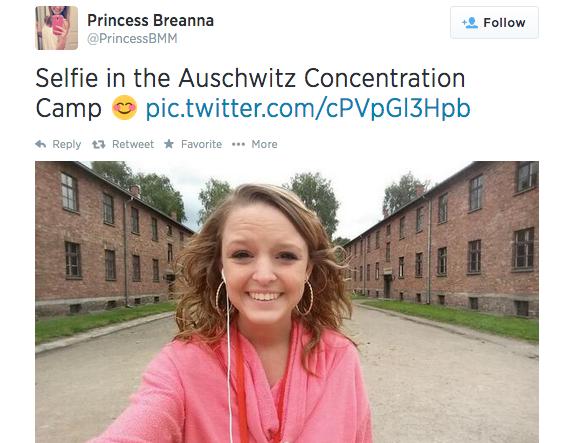 Stupid Insensitive Bitch Takes Ugly Selfie AtAuschwitz