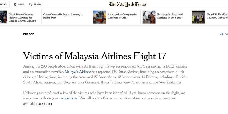 The Victims Of Malaysia Airlines Flight 17, As Profiled By The New YorkTimes