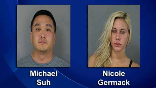 Suspects Michael Suh and Nicole Germack, (Photos provided by Newark, Del. PD)