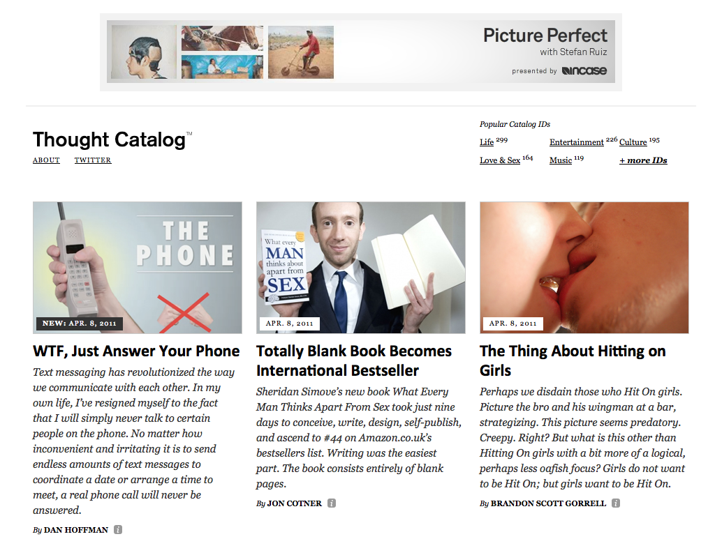 Thought Catalog layout in early 2011