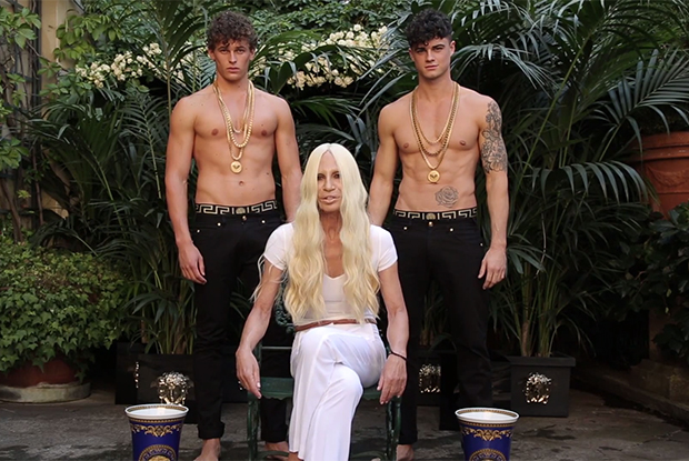 WATCH: Two Hot Models Drench Donatella Versace With IceWater