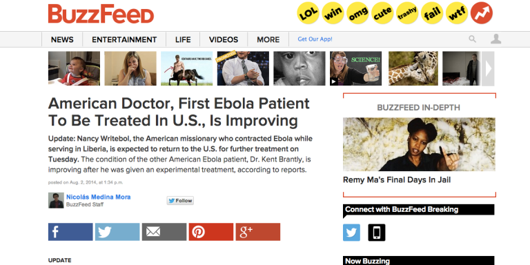 Ebola Found In Pages OfBuzzFeed