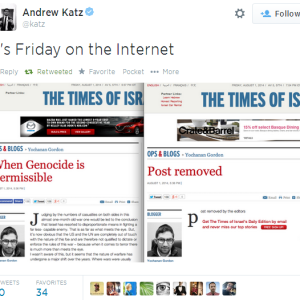 Wow! A Times Of Israel Blogger Advocated Palestinian Genocide Today