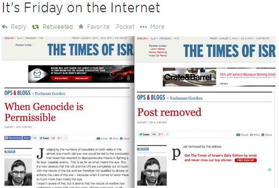 Wow! A Times Of Israel Blogger Advocated Palestinian GenocideToday