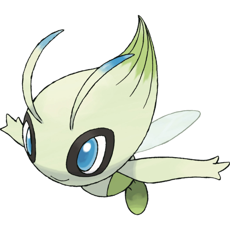 This is the official art by Ken Sugimori of #251 Celebi, released in Pokémon HeartGold and SoulSilver.