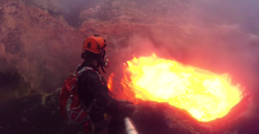 A Bunch Of Guys Dove Into An Active Volcano And They Have The Video To Prove It