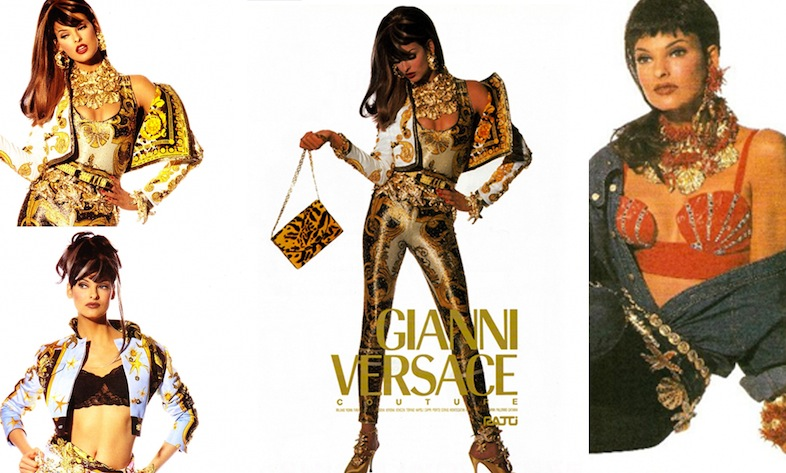 Versace Campaign Spring/Summer Couture 1992 with Linda Evangelista and photographed by Irving Penn.