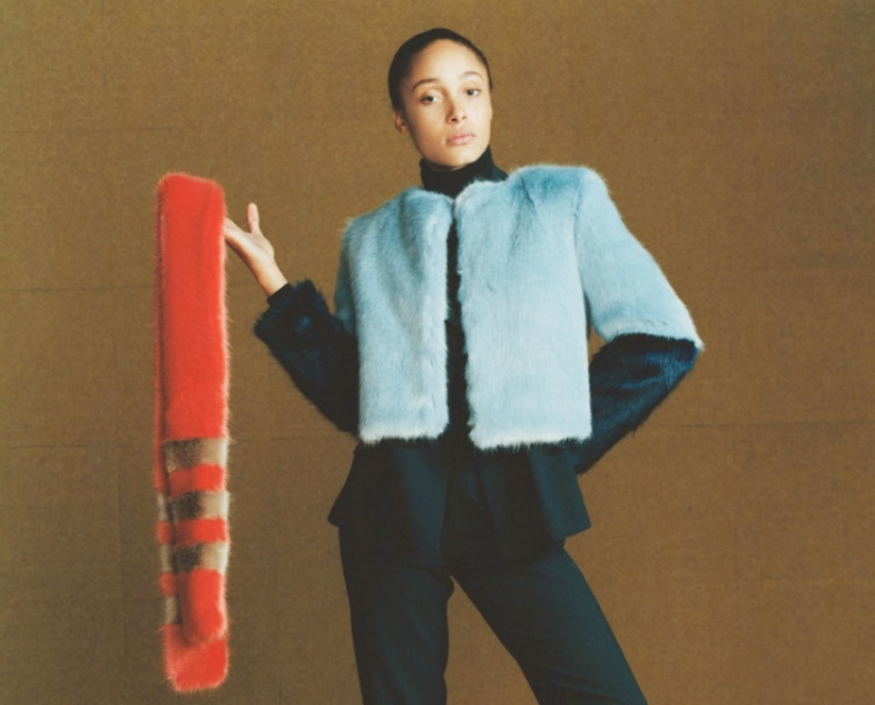 A shot from the Shrimps Fall/Winter 2014 lookbook, featuring Adwoa Aboah.