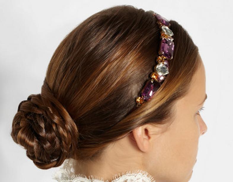 Dolce & Gabbana's gold-plated Swarovski crystal headband, $1,625 / Net-A-Porter.