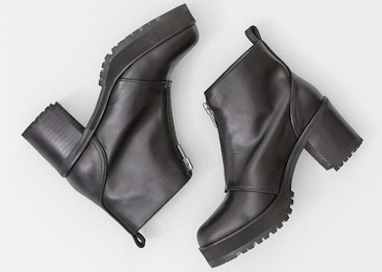 Won Hundred's black shadow zip boot, $410 / Totokaelo.