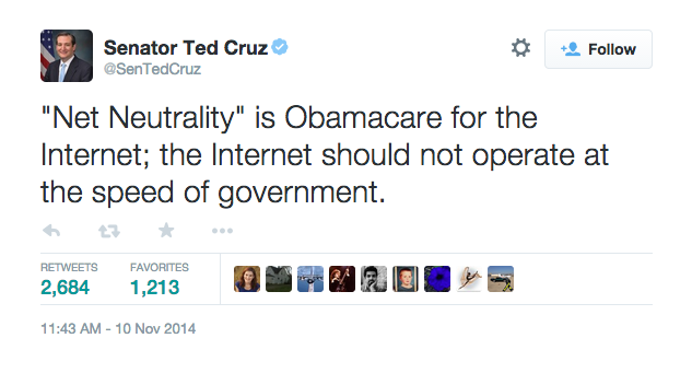 Senator Ted Cruz Says Net Neutrality Is Like Obamacare…But It's Not And He Probably KnowsThat