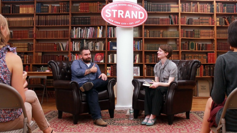 "Author Emily St. John Mandel is interviewed by BuzzFeed's Isaac Fitzgerald at New York's Strand bookshop on September 11 about her novel ""Station Eleven."" Photo provided by the author."