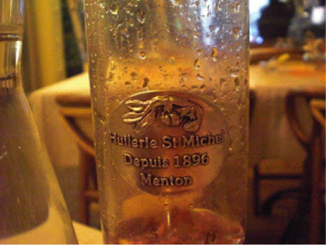 Olive Oil made right in the heart of Menton featuring Menton's patron saint, St. Michael