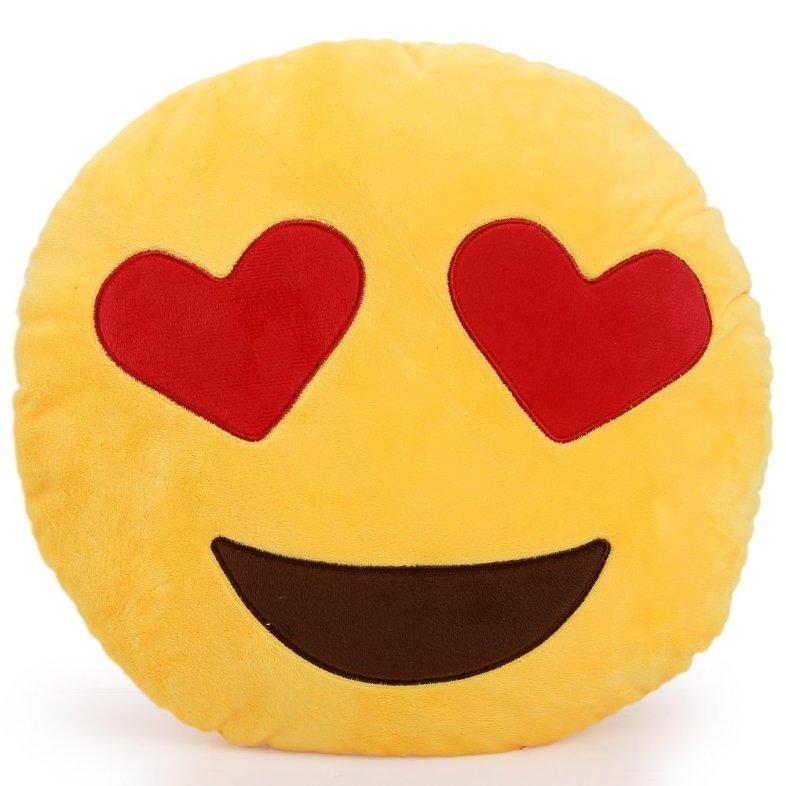 Emoji Smiley Emoticon Yellow Round Cushion Pillow (Amazon)