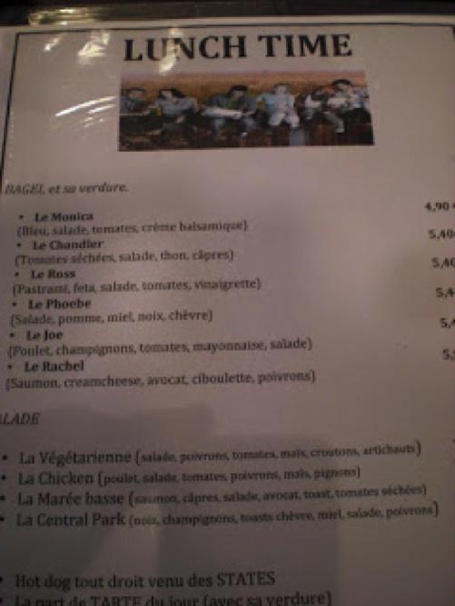 F.R.I.E.N.D.S Themed cafe's menu