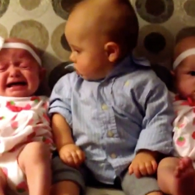 Watch What Happens When An Adorable Baby Meets Twins For The First Time