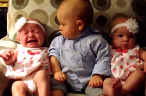 Watch What Happens When An Adorable Baby Meets Twins For The FirstTime