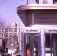 early march 1974 phone booths outside restaurant