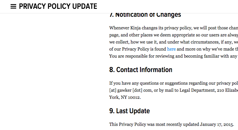 Gawker Privacy Policy