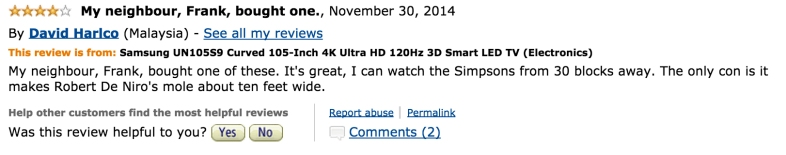 20 Hilarious Amazon Reviews Of The $119,999 Samsung TV