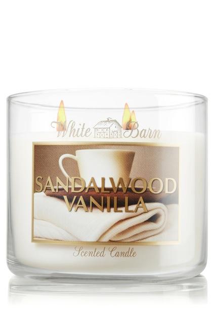 Bath & Body Works White Barn Sandalwood Vanilla Scented Candle (Amazon)