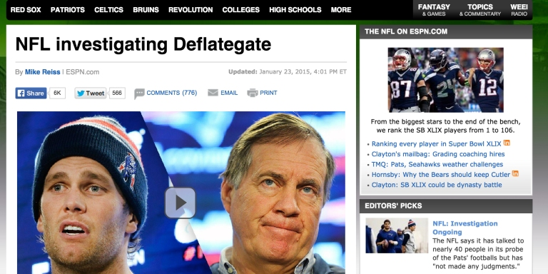 Mainstream Coverage Of The New England Patriots, Deflated BallsStory