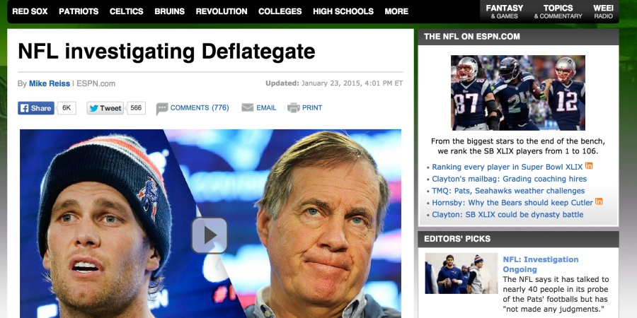Mainstream Coverage Of The New England Patriots, Deflated Balls Story