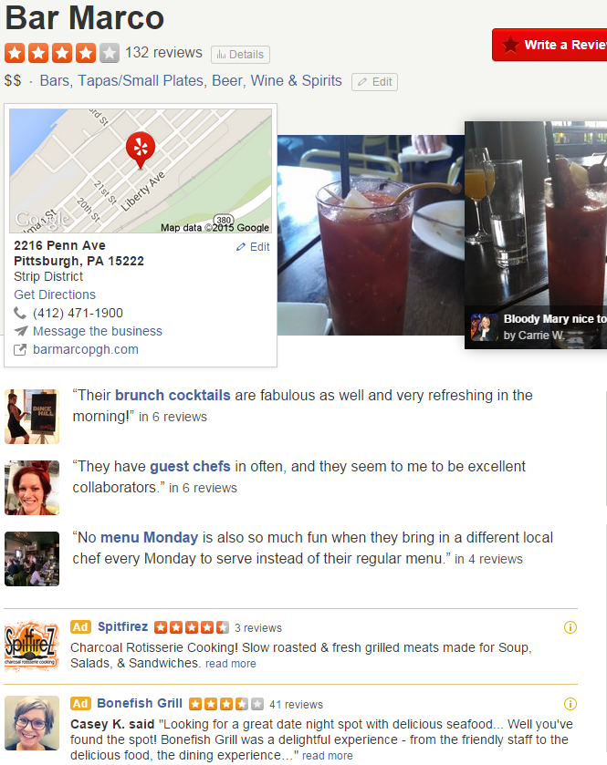 Reviews for Bar Marco are overwhelmingly positive