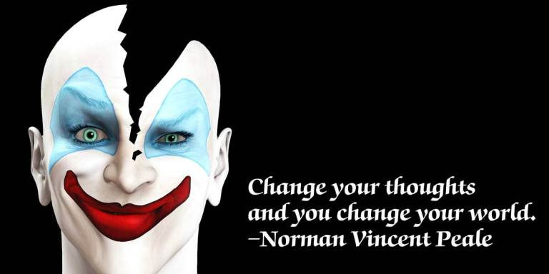 13 Inspirational Quotes Superimposed Over Stock Images Of EvilClowns