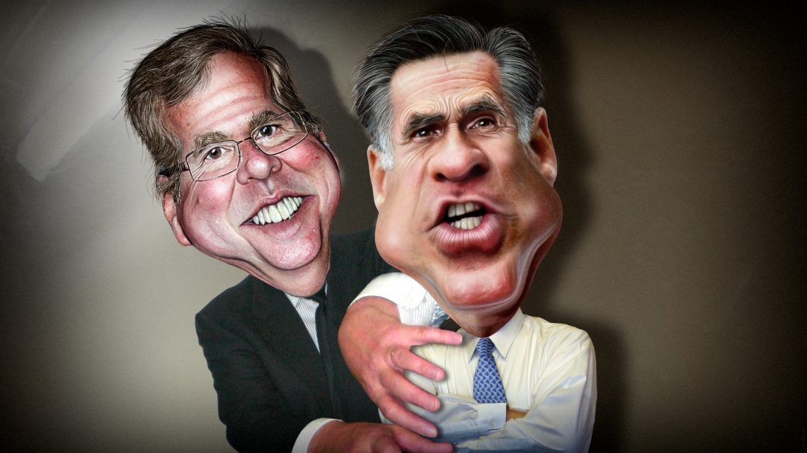 Jeb Bush pushing Mitt Romney aside via Flickr - Donkeyhotey