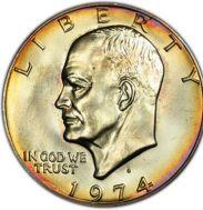 1974 eisehower dollar coin