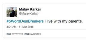50 Top Tweets For @FiveWordDealBreakers