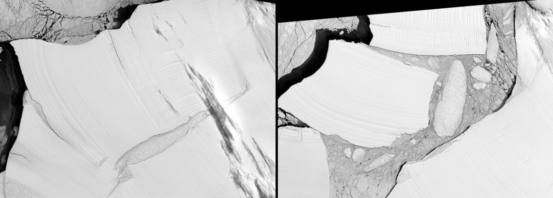 Left: Nov. 11, 1973; Right: Nov. 10, 1986  The Filchner Ice Shelf, on the Antarctic coast facing the Atlantic Ocean, is the largest ice shelf by volume on Earth. In the austral winter of 1986, its front edge broke off, forming three large icebergs. This was a major, long-awaited calving. Ice shelves develop mainly from glaciers flowing slowly downhill toward the ocean.