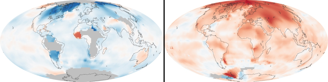 Global temperature changes. Left: 1880-1889. Right: 2000-2009. These maps compare temperatures in each region of the world to what they were from 1951 to 1980...Earth's average surface temperature has increased by about 0.7 °C (1.3 °F) since 1880. Two-thirds of the warming has occurred since 1975, at a rate of roughly 0.15 to 0.20 °C per decade.
