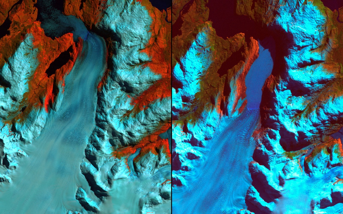 Patagonia, Chile. Left: September 18, 1986. Right: August 5, 2002. The 1986 image shows the region prior to a major retreat of the glaciers. The 2002 image shows a retreat of nearly 10 kilometers (6.2 miles) of the glacier on the left side. The smaller glacier on the right has receded more than 2 kilometers (1.2 miles).