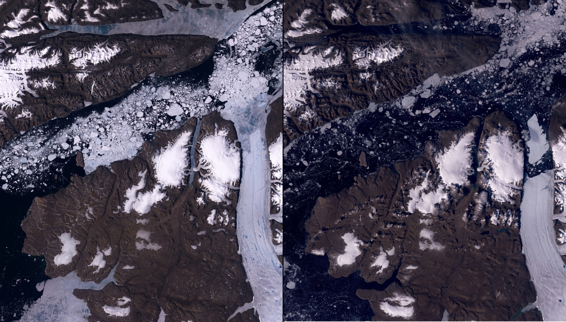 Petermann Glacier, Greenland. Left: June 26, 2010. Right: August 13, 2010. An iceberg more than four times the size of Manhattan broke off the Petermann Glacier (the curved, nearly vertical stripe stretching up from the bottom right of the images) along the northwestern coast of Greenland. Warmer water below the floating ice and at the sea's surface were probably responsible for the break.