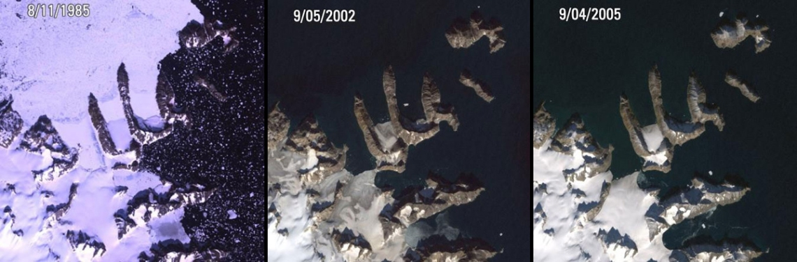 Ice melt, Greenland Warming Island, Greenland. Left: August 11, 1985. Center: September 5, 2002. Right: September 4, 2005. On January 16, 2007, the New York Times reported that a new island had been found in Greenland. Warming Island was thought to be an ice-covered peninsula, but it was exposed as an island in 2005, when an ice bridge melted to reveal an open-water strait. More islands like this may be discovered if the Greenland ice sheet continues to disappear.