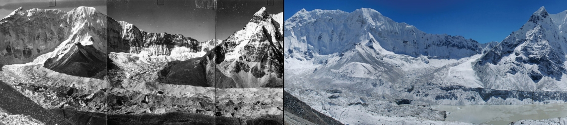 Imja Glacier in the Himalayas. Left: Circa 1956, autumn. Right: October 18, 2007. These images show the glacier as seen from the upper slopes of Island Peak. The after shot shows pronounced retreat and collapse of the lower tongue of the glacier and formation of new melt ponds.