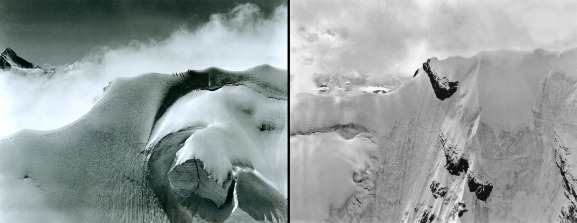 The Doldenhorn mountain, North East Ridge, Switzerland. Left: July 24, 1960, 10.40 am. Right: July 27, 2007, 10.44 am.