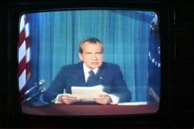 Nixon resigning on TV
