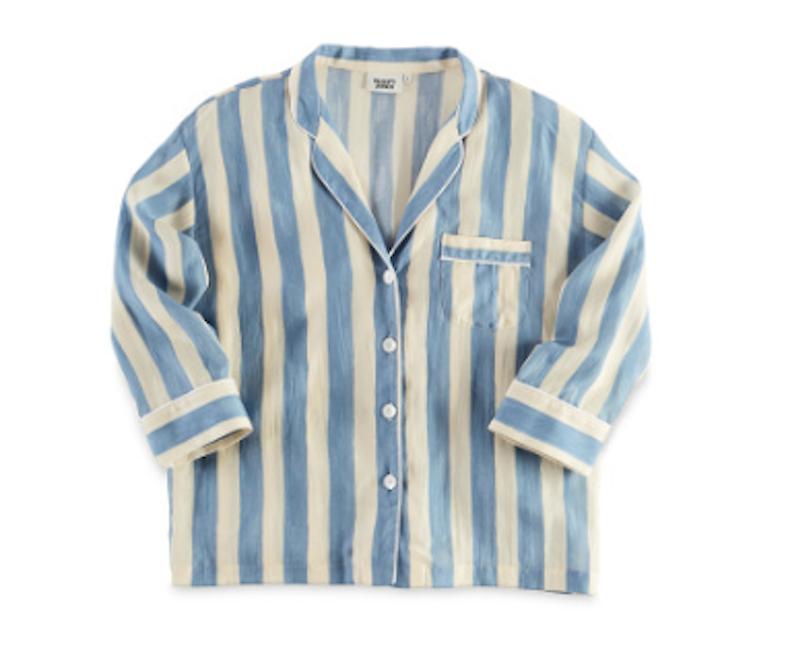 Sleepy Jones marina pajama shirt, bold painted stripe blue / Sleepyjones.com.
