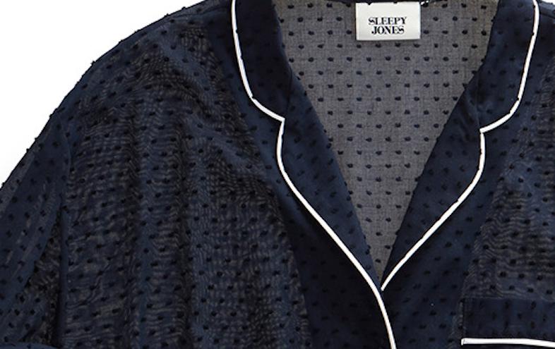 Sleepy Jones marina pajama shirt, swiss dot navy / Sleepyjones.com.