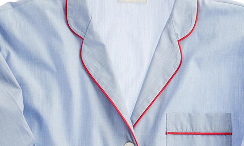 Sleepy Jones marina pajama shirt, blue end on end / Sleepyjones.com.