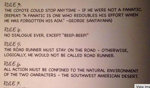 Check Out These 9 Glorious Rules Of The Road Runner And Wile E. Coyote Universe By Creator ChuckJones