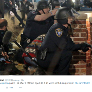 2 Police Officers Were Shot During A Protest In Ferguson Last Night