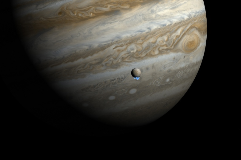 Artist's impression of ice plumes from Europa via Hubble ESA