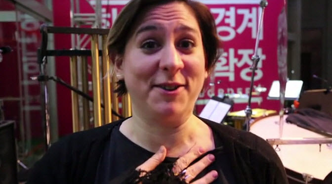 Nadia Sirota tapes a message about 'Meet the Composer' in South Korea prior to a performance. Image: Q2 Music