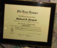 Phi Beta Kappa plaque