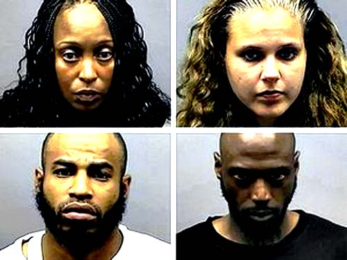 Clockwise from upper left: Lynn Coggins, Jessica Ermatinger, Kevin Huffman, James Randle. (Southfield Police Department)